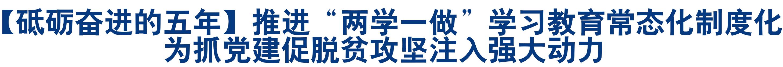 """【砥砺奋进的五年】推进""""两学一做""""学习教育常态化制度化 为抓党建促脱贫攻坚注入强大动力"""